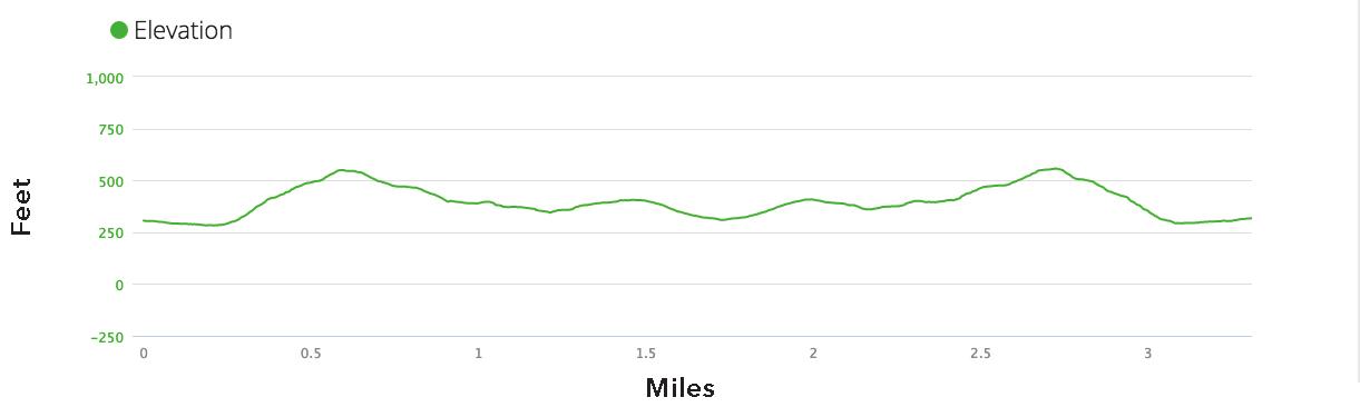 Calistoga Trail Ramble 10 Mile 1st Half Elevation Profile