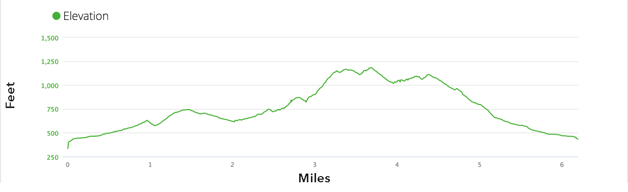 Calistoga Trail Ramble 10K Course Elevation Profile